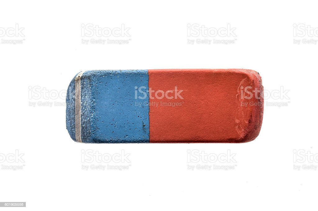 Used Blue and Red Rubber Pen Eraser isolated on white stock photo