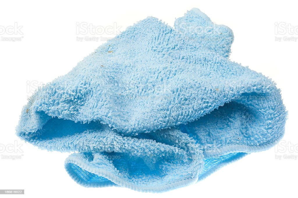 used blue rag - blauer Lappen stock photo