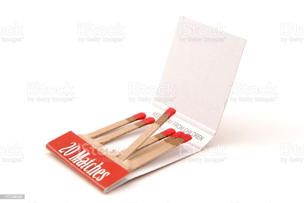 Used book of matches against a white background  stock photo