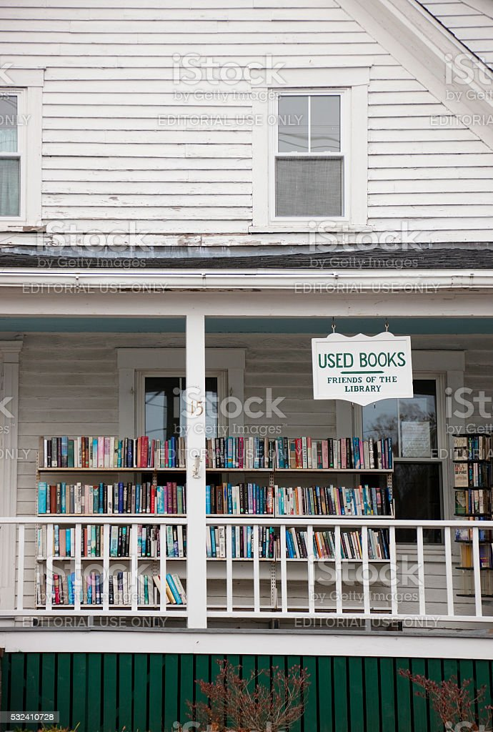 Used book shop in Boothbay Harbor, Maine stock photo
