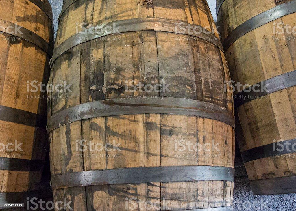 Used Bourbon Barrels stock photo