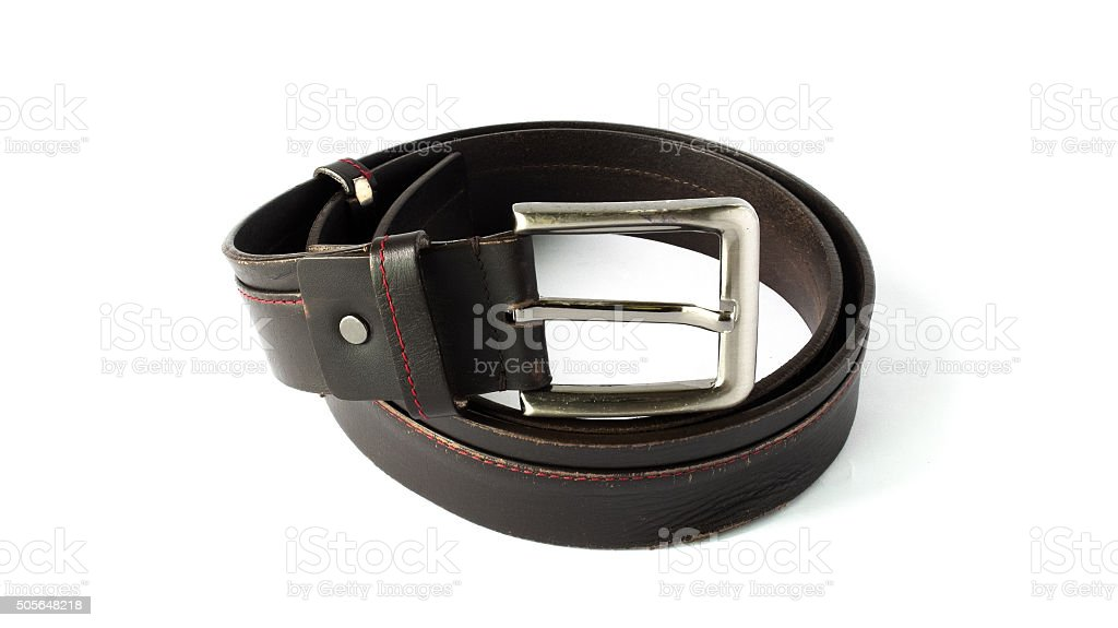 Used Brown Leather Men Belt on White Background stock photo