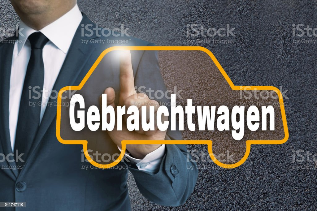 gebrauchtwagen (in german Used car) auto touchscreen stock photo