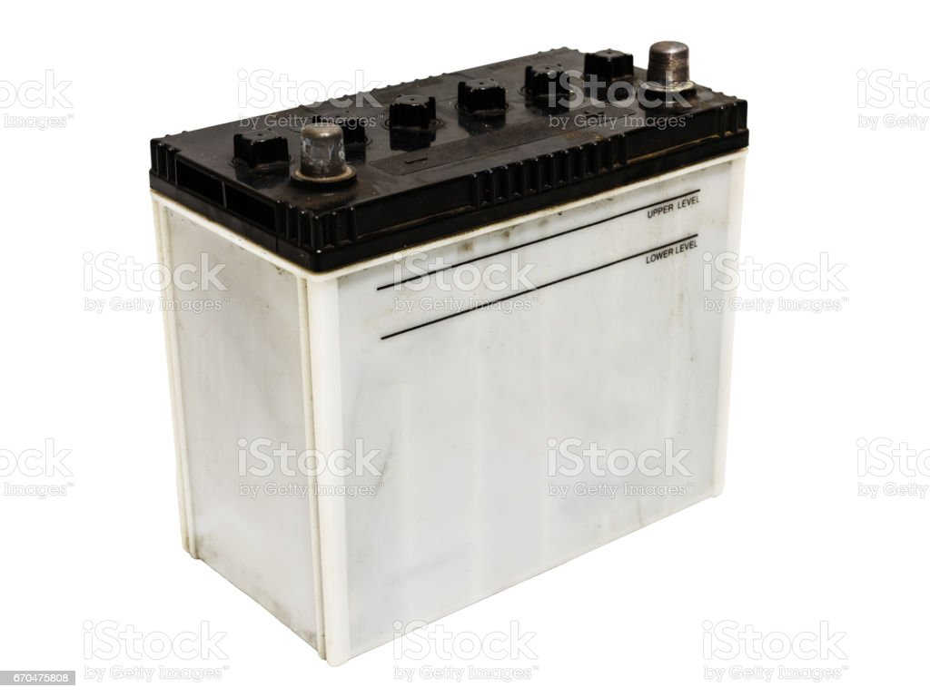 Used car battery isolated on white stock photo