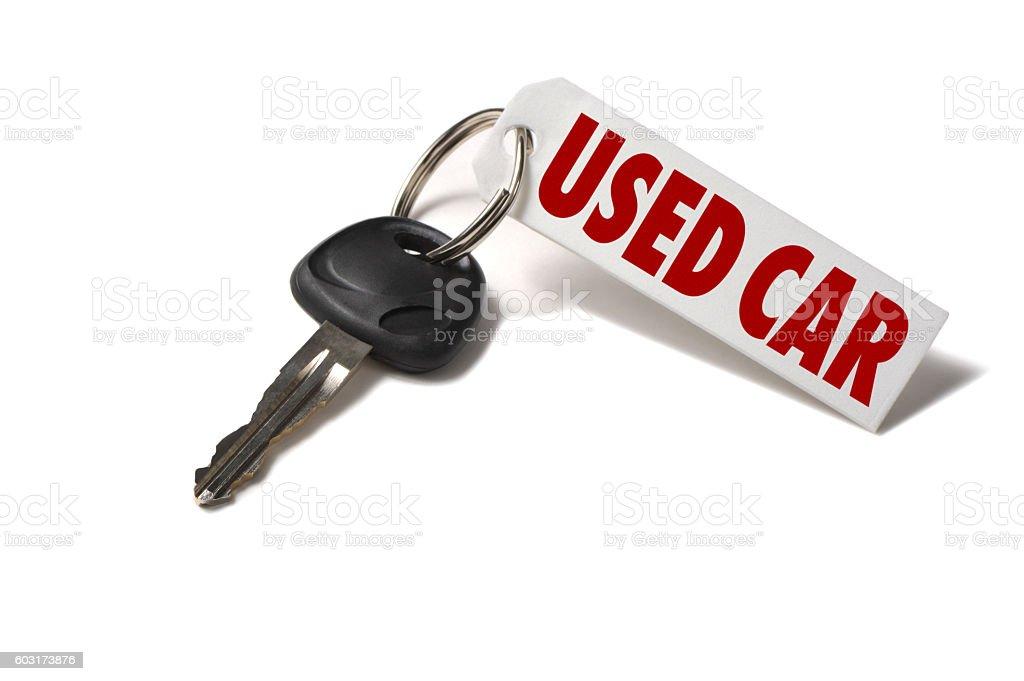 Used Car Key Tag on White stock photo