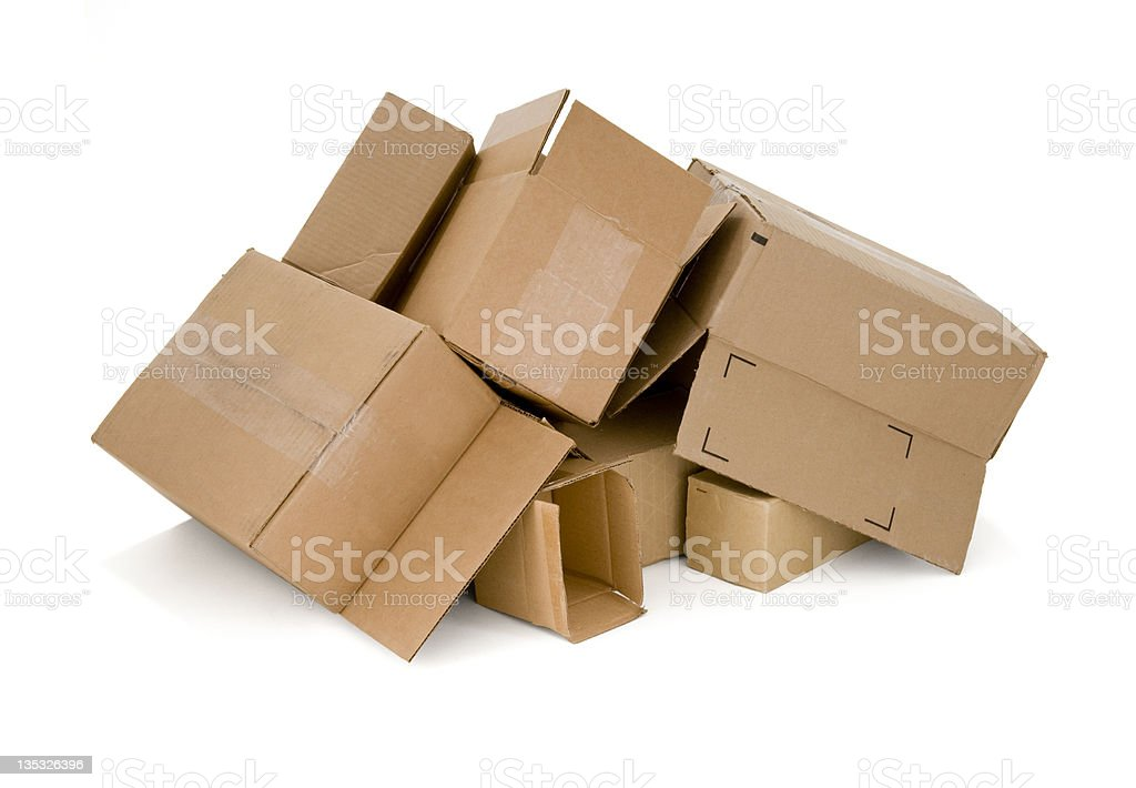 Used Cardboard Boxes royalty-free stock photo