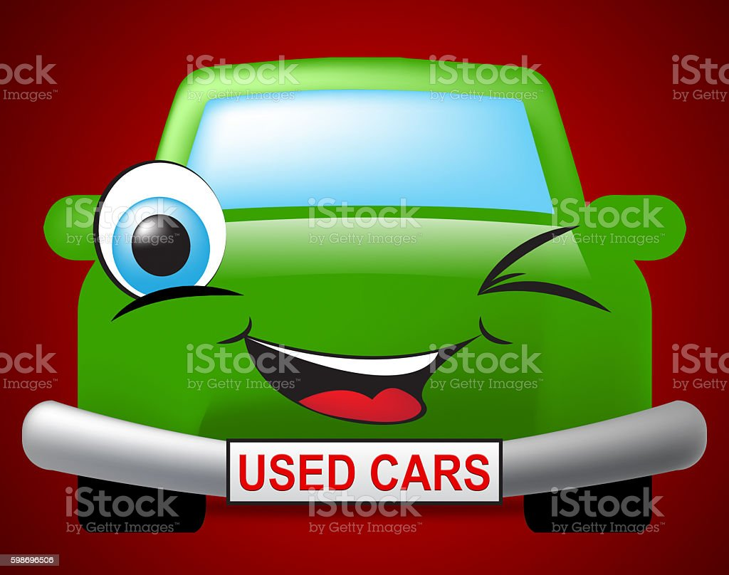 Used Cars Means Second Hand And Auto stock photo