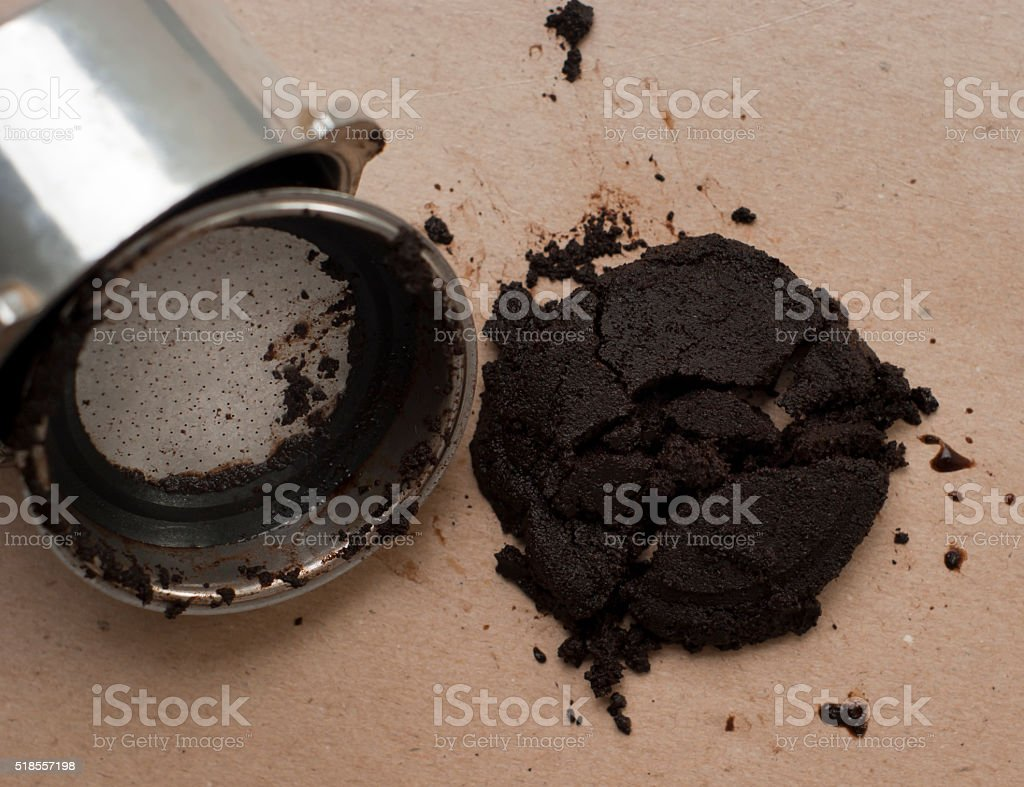 Used coffee grounds stock photo