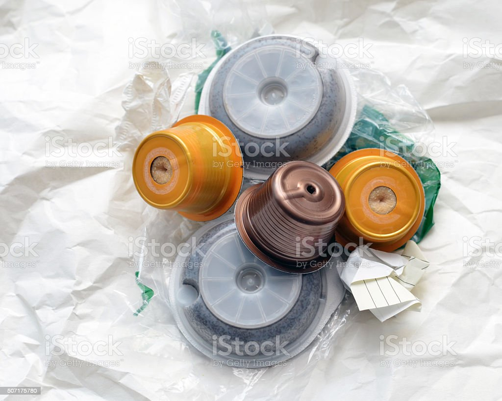 Used Coffee Pods stock photo