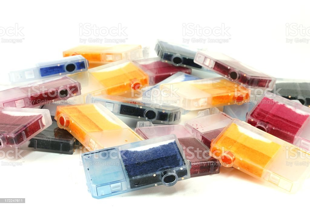 Used color printer Ink Cartridges in pile stock photo