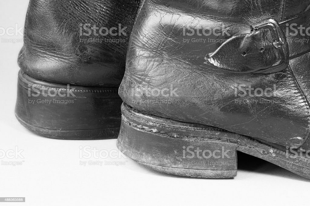 used dirty man boot details stock photo