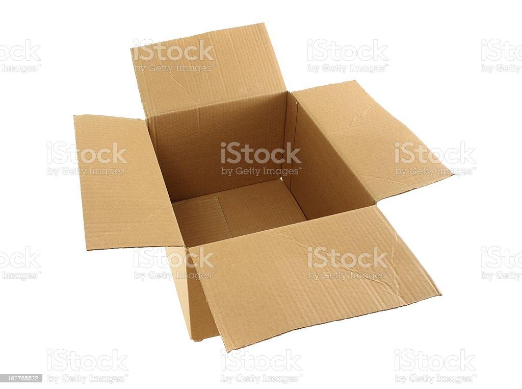 used empty large open box , isolated on white royalty-free stock photo
