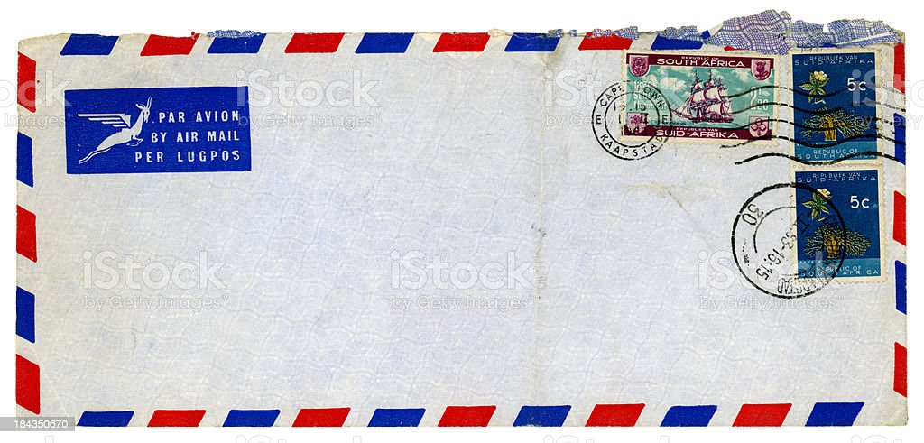 Used envelope from Cape Town, South Africa, 1963 royalty-free stock photo