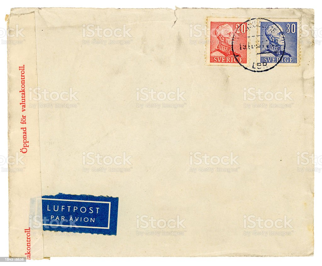 Used envelope from Sweden stock photo