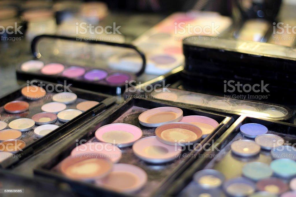 Used eye make up and blush stock photo