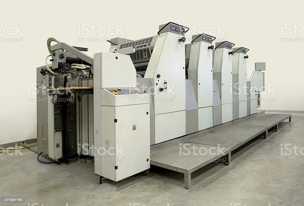 Used Four Colour Offset Printing Machine royalty-free stock photo