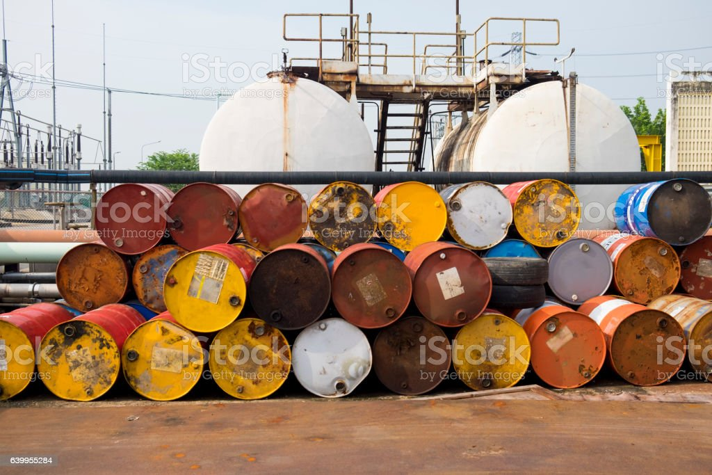 Used fuel oil or chemical 200 liter tank stock photo