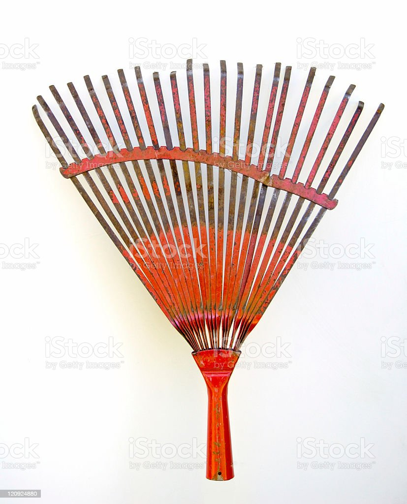 Used Garden Rake on a white background royalty-free stock photo