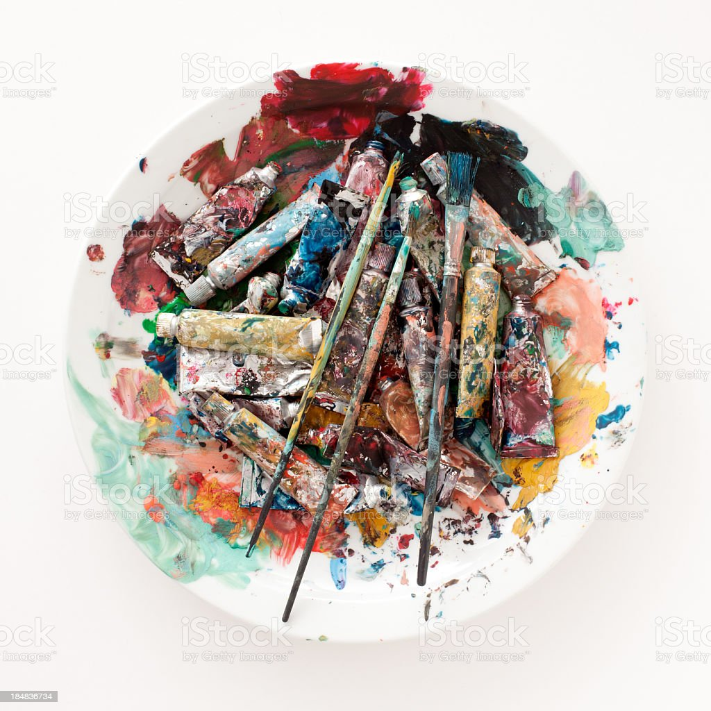 Used gouache paints royalty-free stock photo