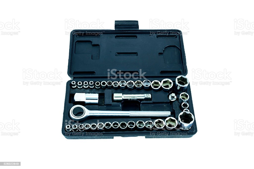 Used hex socket set of spanner stock photo