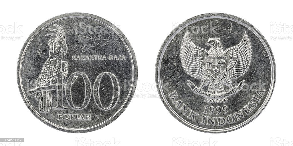 Used Indonesian 100 Rupiah coin royalty-free stock photo