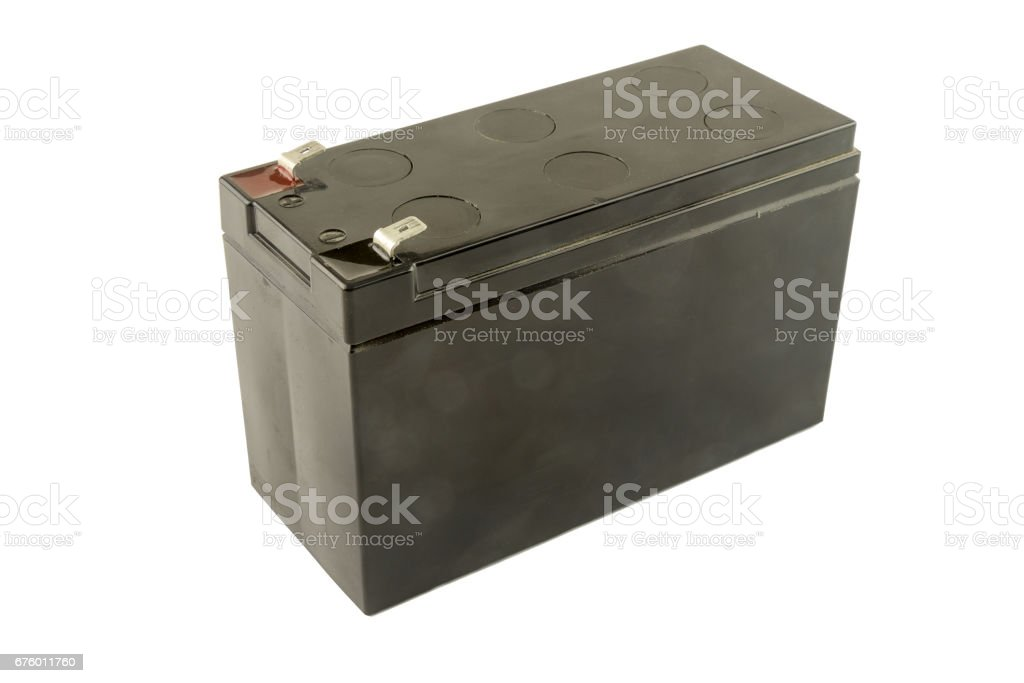 Used industrial battery isolated stock photo