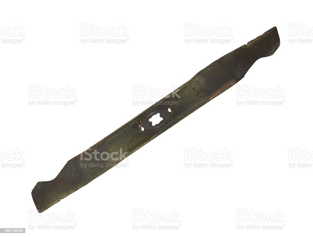Used lawn mower blade on white background. stock photo