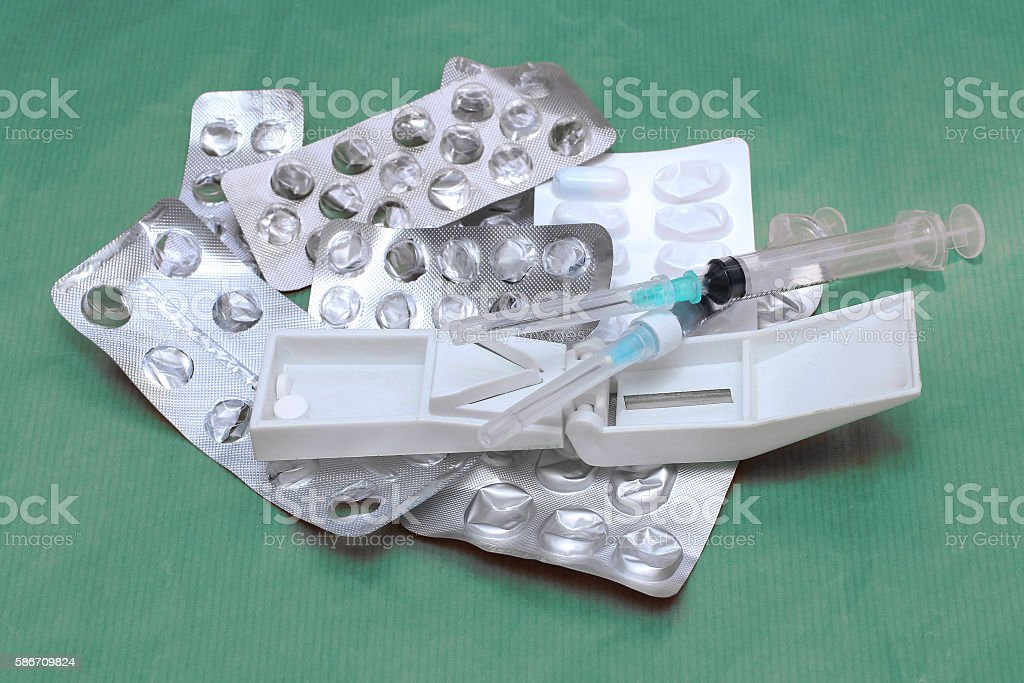 Used medical equipment pile stock photo