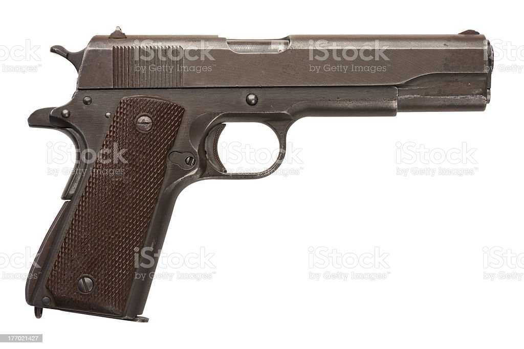 Used Military Pistol 1911A1 stock photo