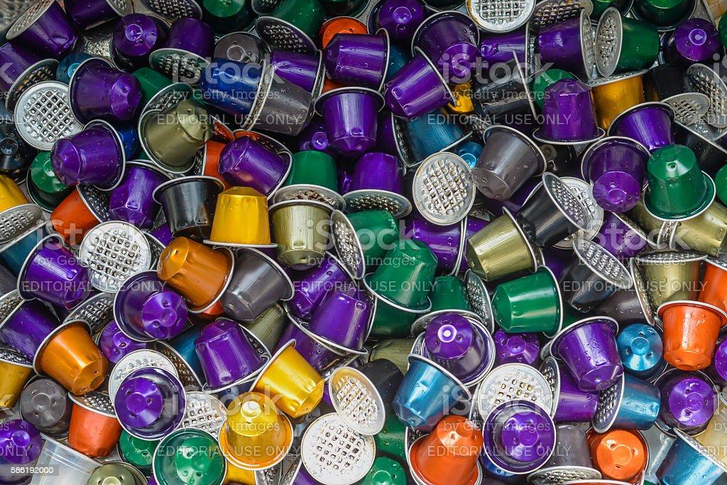 Used Nespresso Coffee Pods stock photo