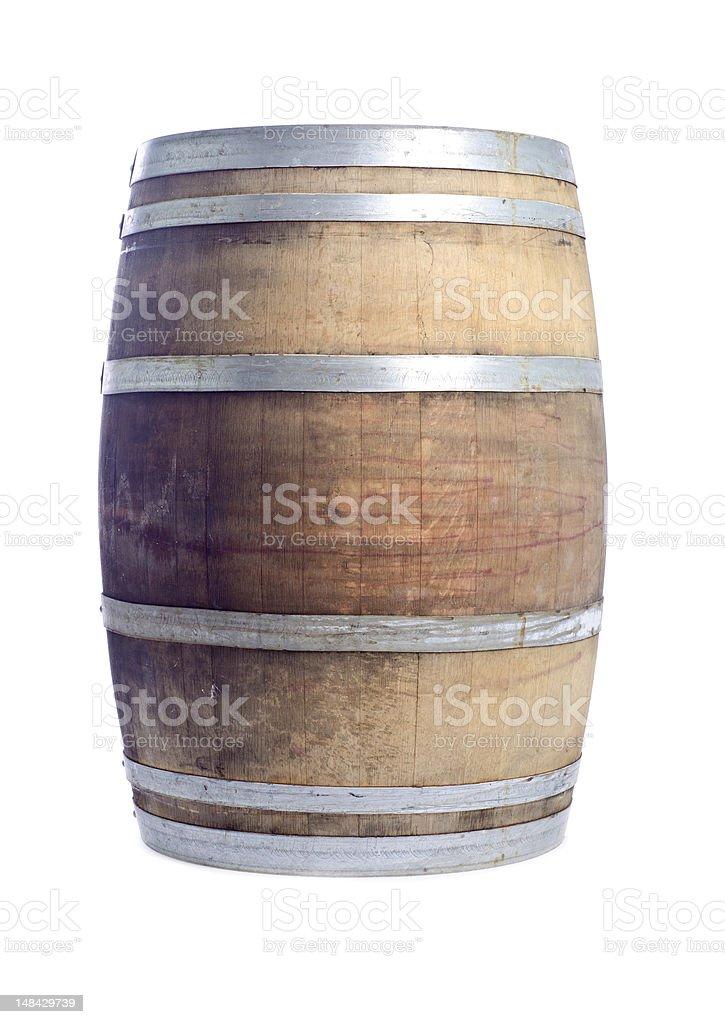 Used Oak Wine Barrel Isolated on White stock photo
