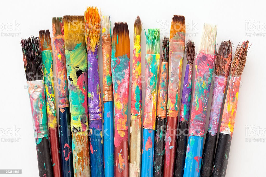 Used paintbrushes stock photo
