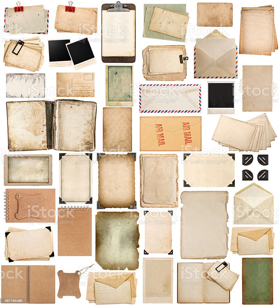 Used paper sheets, books, pages, photo frames and corner stock photo