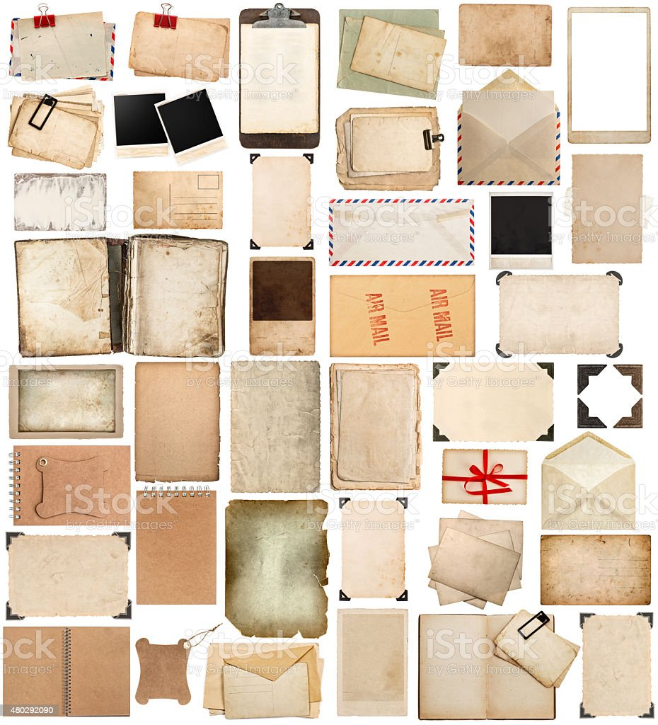 Used paper sheets, frames, books, clipboard and photo corner stock photo