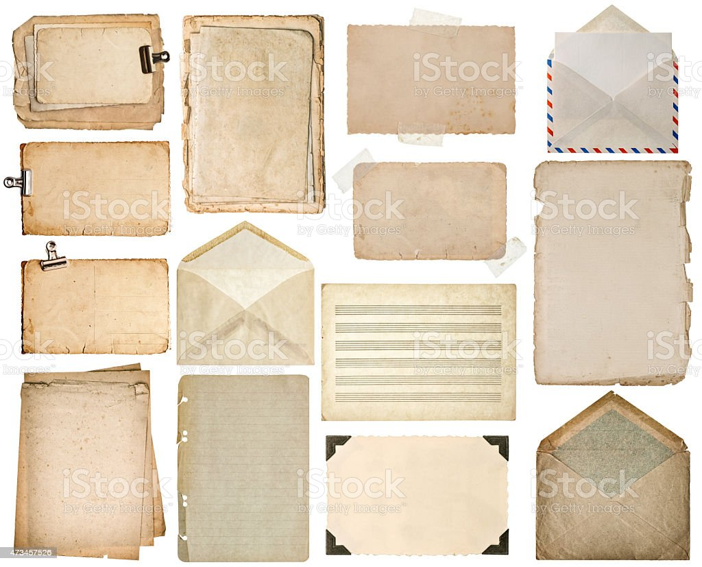Used paper sheets. Old book pages, cardboards, music notes, envelope stock photo