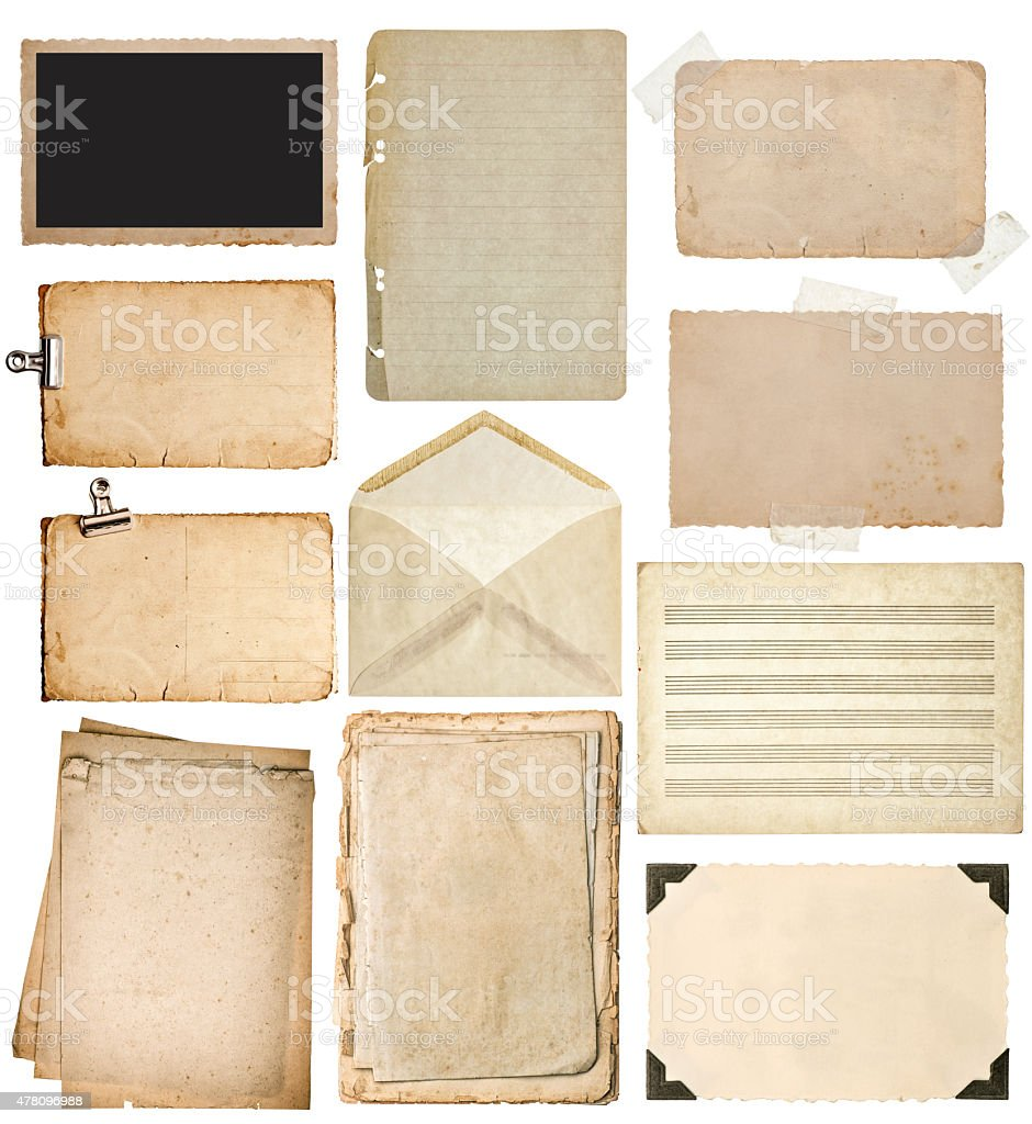 Used paper sheets set. stock photo
