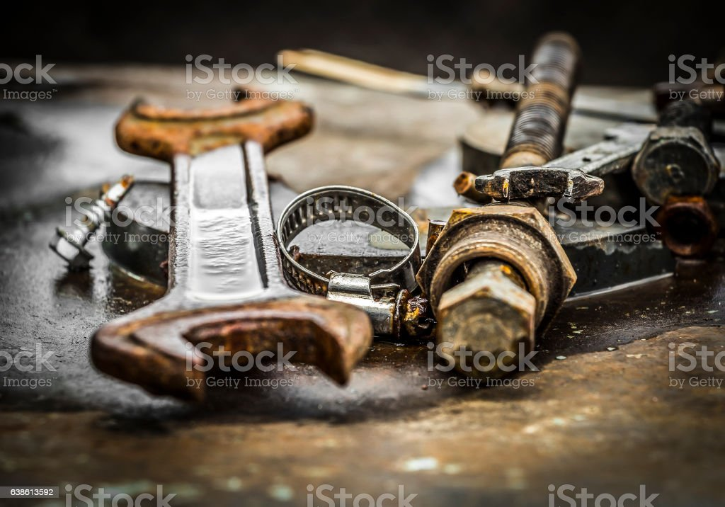 Used parts for repair of equipment stock photo