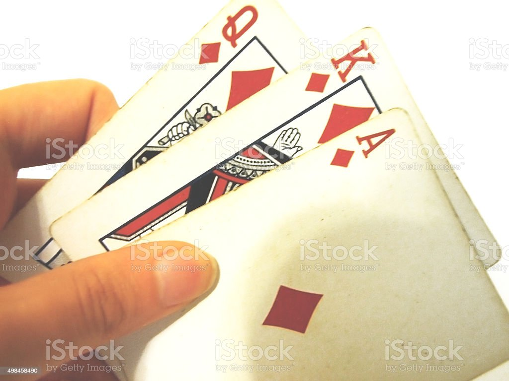 Used playing cards stock photo