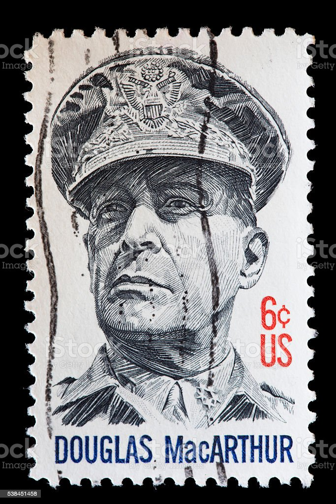 USA used postage stamp showing portrait of General Douglas MacArthur stock photo