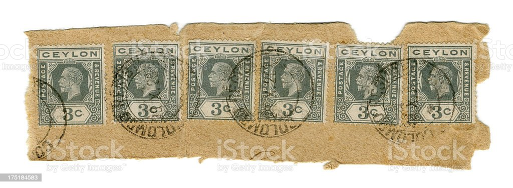 Used postage stamps from Ceylon, 1925 royalty-free stock photo