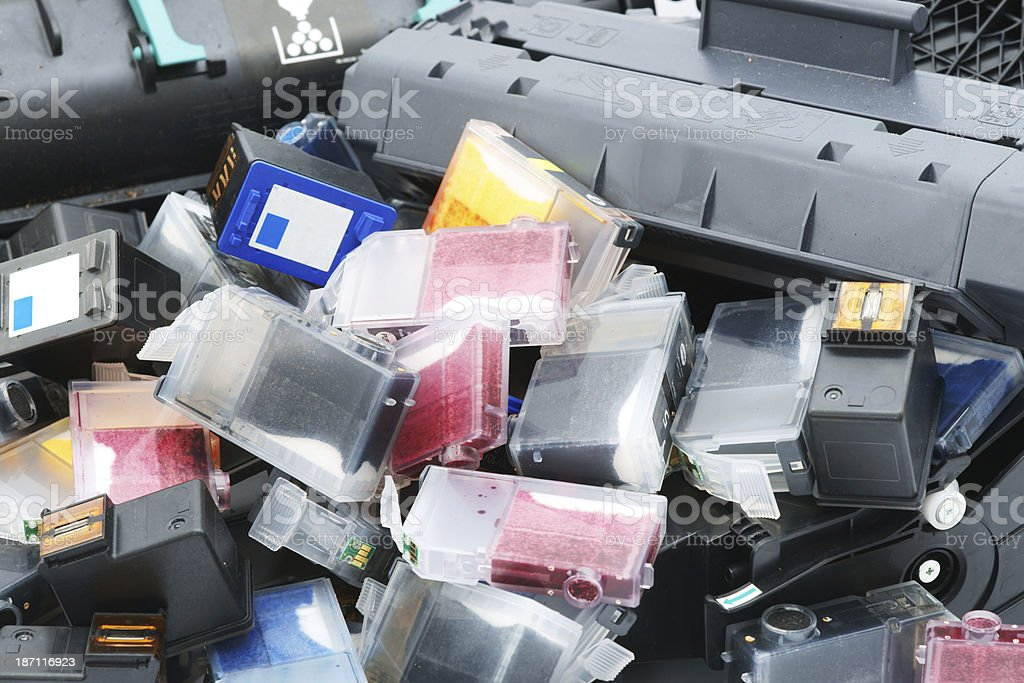 Used printer cartridges close up royalty-free stock photo
