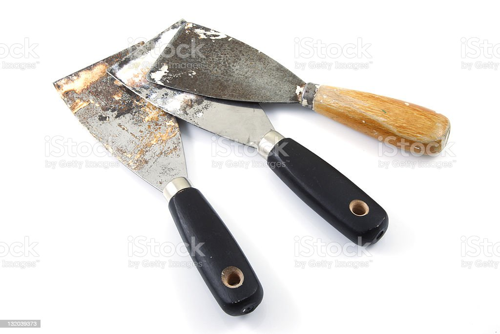 Used putty knives royalty-free stock photo