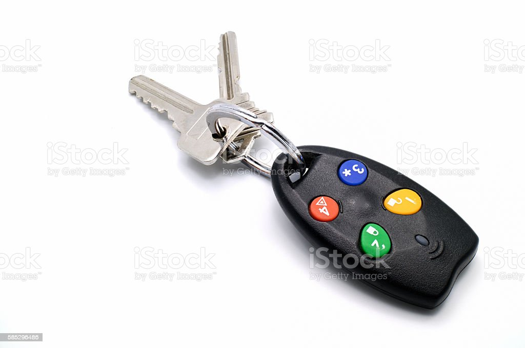Used remote control house keys chain for activate security alarm stock photo