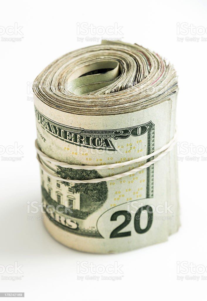 Used Rolled Twenty Dollar Bills Bundle royalty-free stock photo