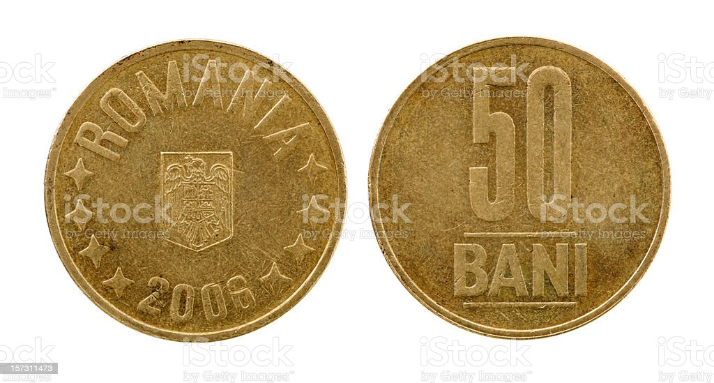 Used Romania 50 Bani coin from 2006, isolated (both sides) royalty-free stock photo