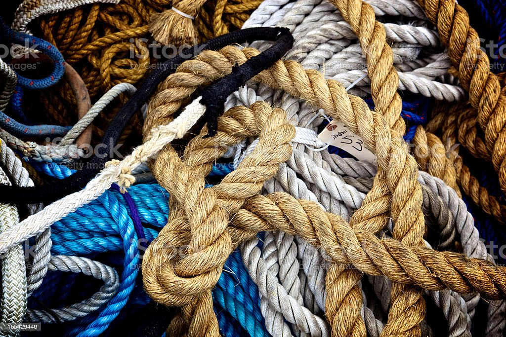 Used Rope Pile Assorted Size and Color stock photo
