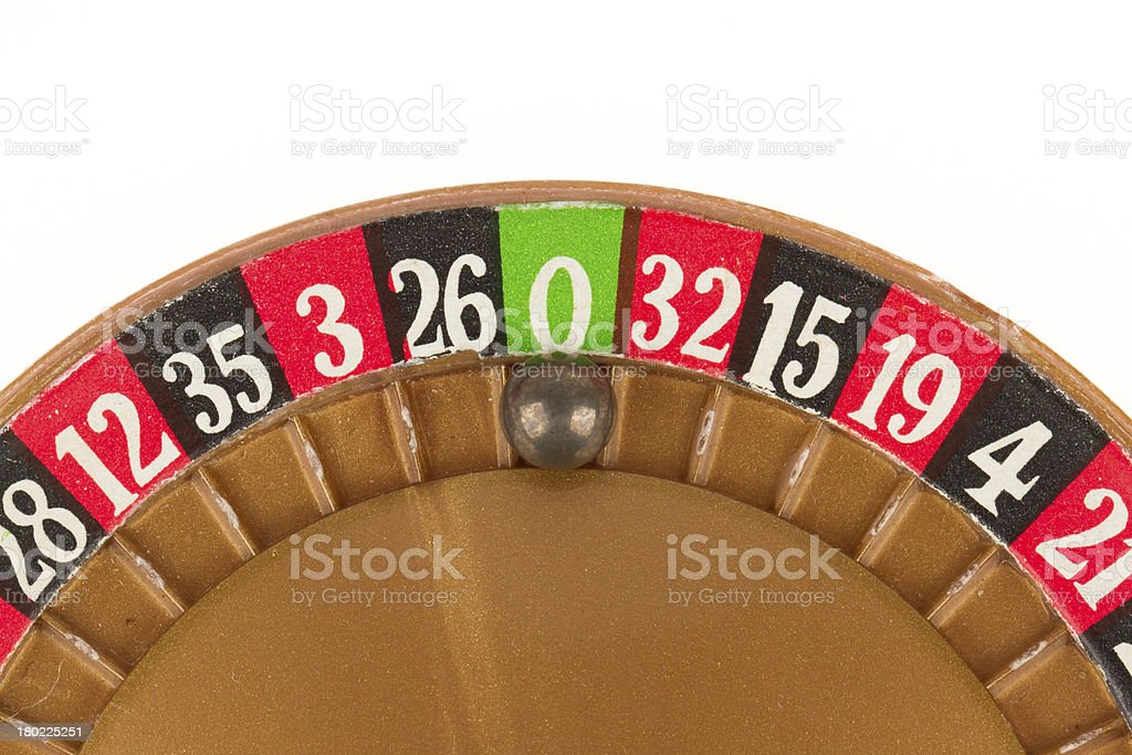 Used roulette wheel and ball royalty-free stock photo