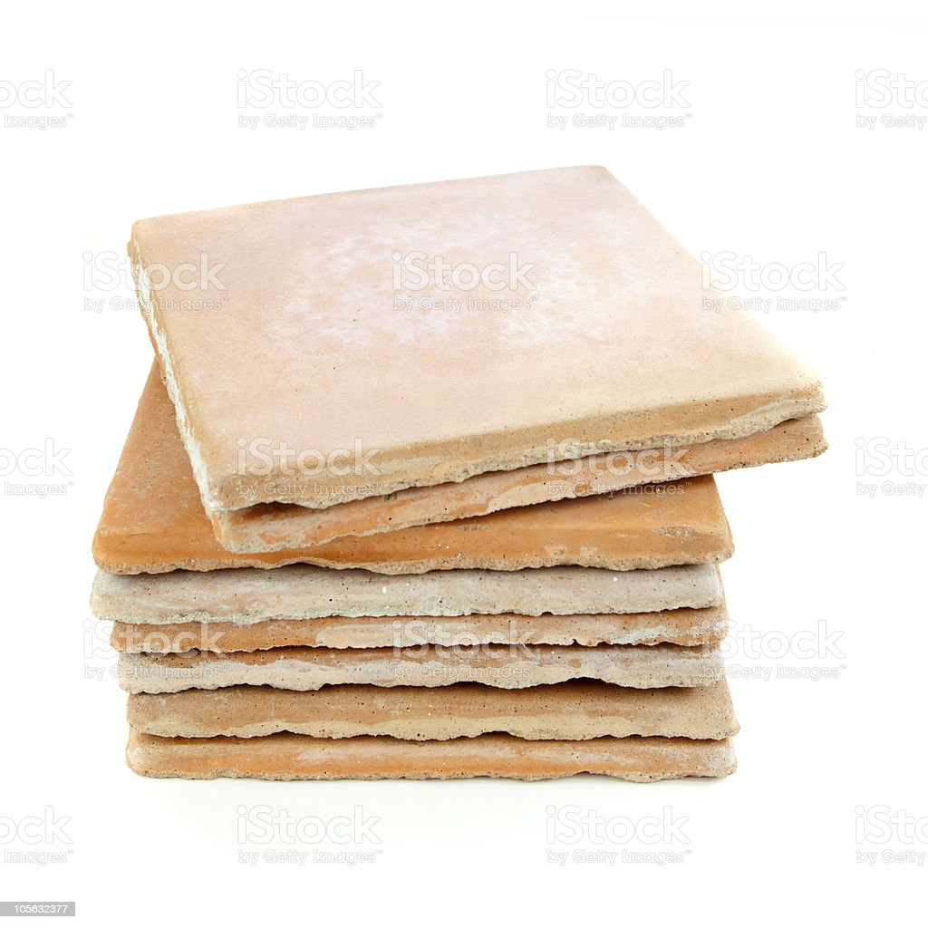 Used saltillo tiles, recycled building materials stock photo