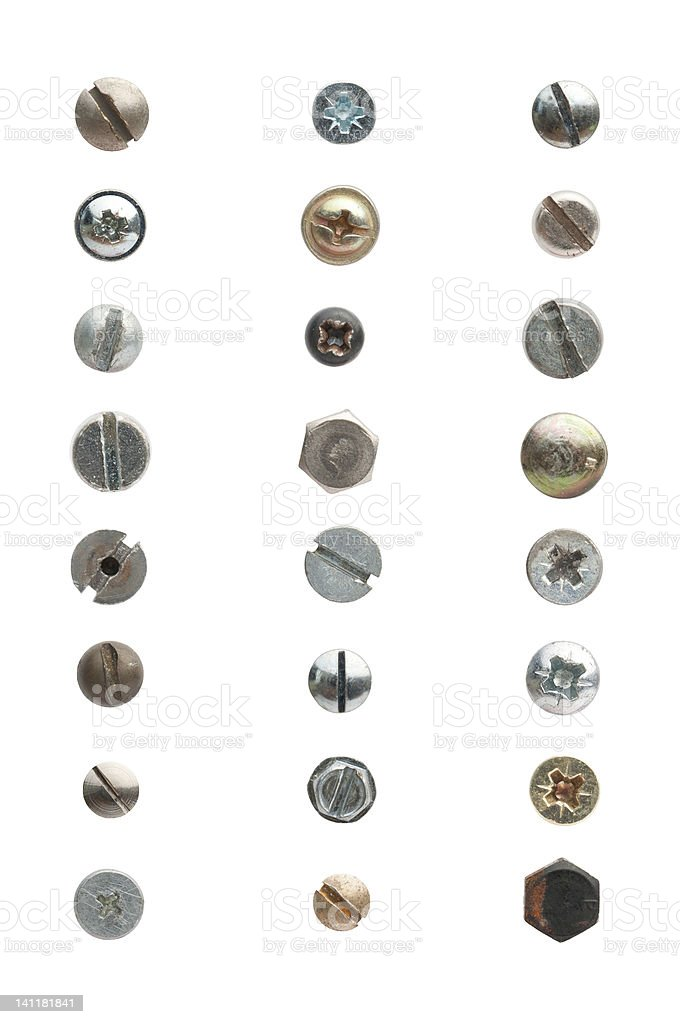 Used screws stock photo