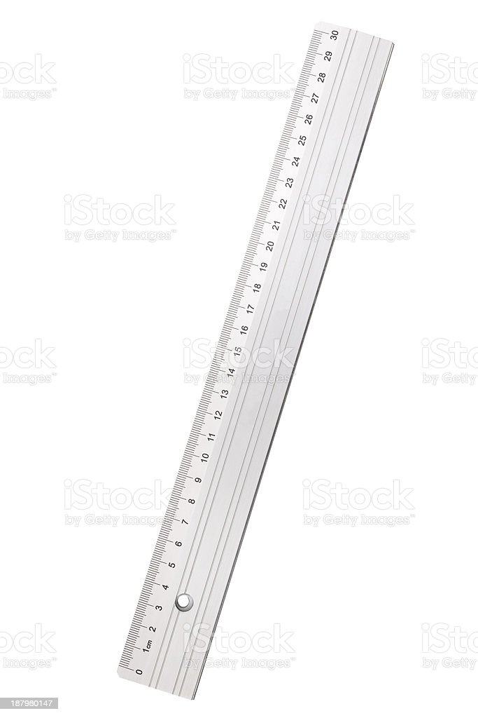 used silver metal ruler, isolated on white stock photo